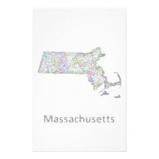 Massachusetts map 14 cm x 21.5 cm flyer