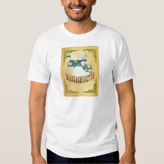 Massachusetts Map With Lovely Birds Shirts