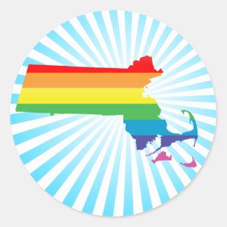 massachusetts pride. round sticker
