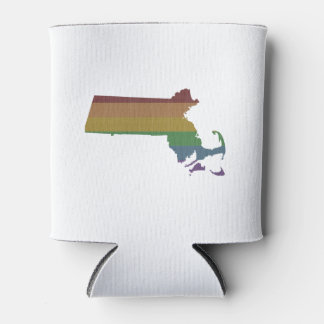 Massachusetts Rainbow Gay Pride Can Cooler