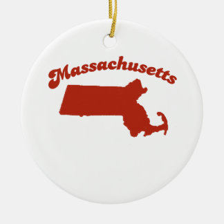 MASSACHUSETTS Red State Christmas Tree Ornament