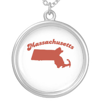 MASSACHUSETTS Red State Round Pendant Necklace
