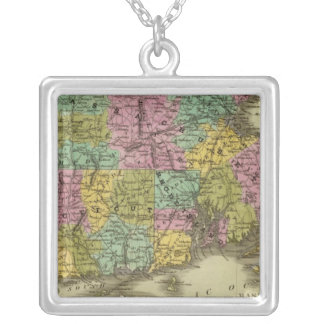 Massachusetts Rhode Island And Connecticut 2 Silver Plated Necklace