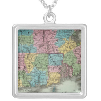 Massachusetts Rhode Island And Connecticut Silver Plated Necklace