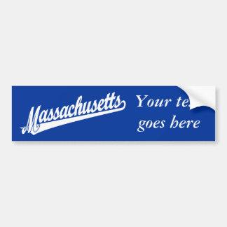 Massachusetts script logo in white bumper sticker