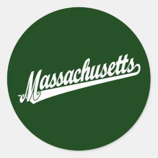 Massachusetts script logo in white sticker