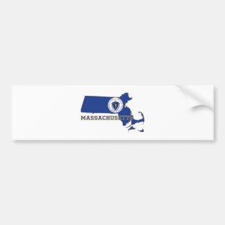 Massachusetts State Flag and Map Bumper Sticker
