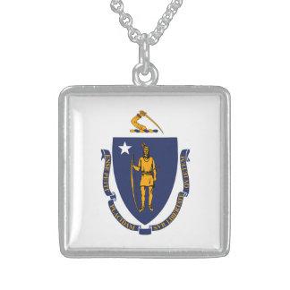 Massachusetts State Flag Design Square Pendant Necklace