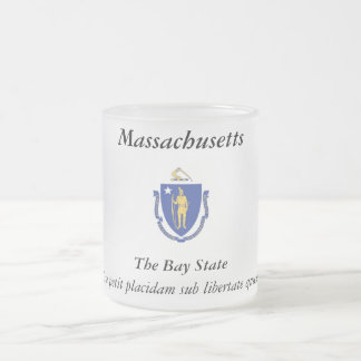 Massachusetts State Flag Frosted Glass Coffee Mug