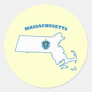 Massachusetts State Flag Round Sticker