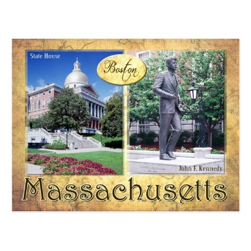 Massachusetts State House & Kennedy's Statue Post Card
