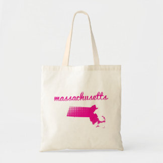 Massachusetts state in pink tote bag