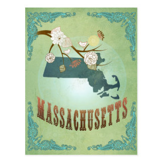 Massachusetts State Map – Green Postcards