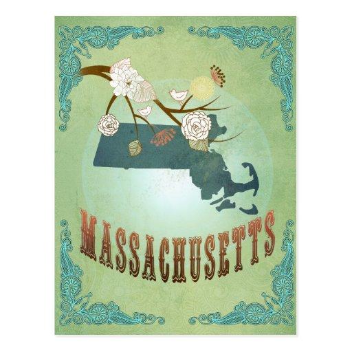 Massachusetts State Map – Green Postcards