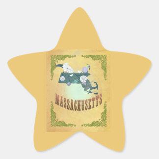 Massachusetts State Map- Passion Fruit Yellow Star Stickers