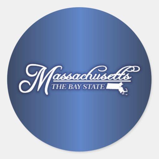 Massachusetts State of Mine Round Stickers
