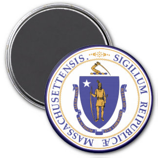 Massachusetts State Seal 7.5 Cm Round Magnet