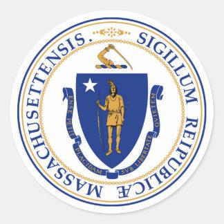 Massachusetts state seal america republic symbol f round sticker