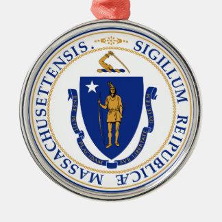 Massachusetts state seal america republic symbol f Silver-Colored round decoration
