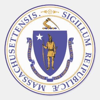 Massachusetts State Seal Round Sticker