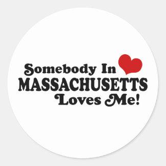 Massachusetts Round Stickers