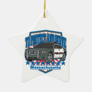 Massachusetts To Protect and Serve Police Car Christmas Ornament