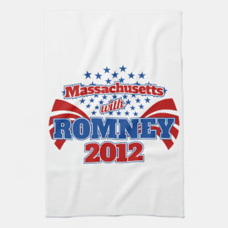 Massachusetts with Romney 2012 Tea Towel