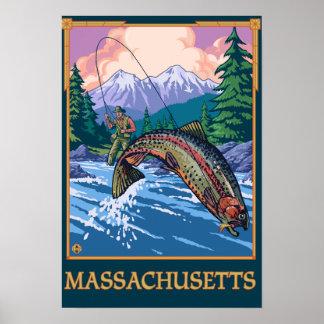 MassachusettsAngler Fisherman Scene Posters