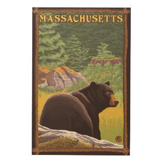 MassachusettsBlack Bear in Forest Wood Wall Art