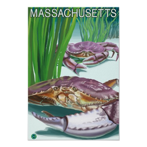 MassachusettsCrab and Fisherman Poster