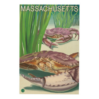 MassachusettsCrab and Fisherman Wood Print
