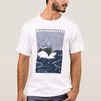 MassachusettsCrab Fishing Boat Scene T-Shirt