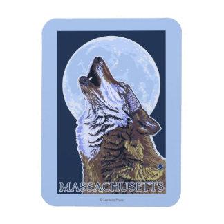 MassachusettsHowling Wolf Rectangular Photo Magnet