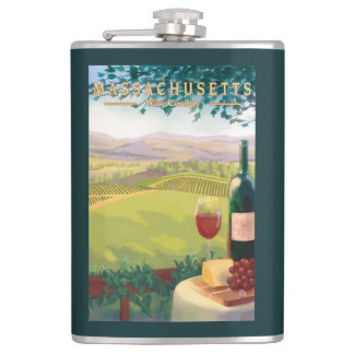 MassachusettsWine Country Scene Hip Flask