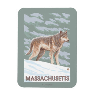 MassachusettsWolf Scene Rectangular Photo Magnet