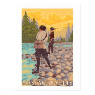 MassachusettsWomen Fly Fishing Scene Postcard