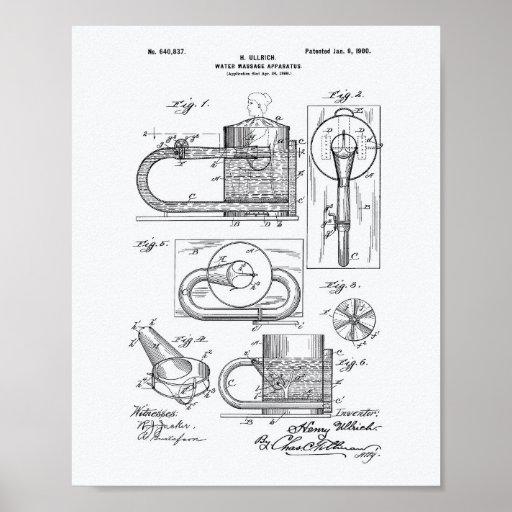 Massage Apparatus 1900 Patent Art White Paper Poster