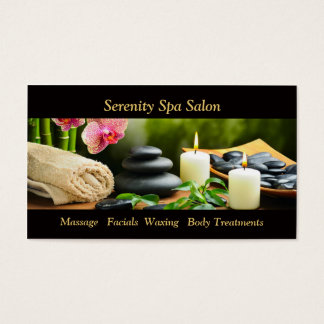 Massage Bamboo Orchid Stones Appointment Card