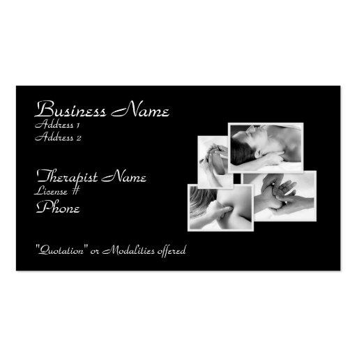 Massage/ Bodywork Therapist Card Pack Of Standard Business Cards