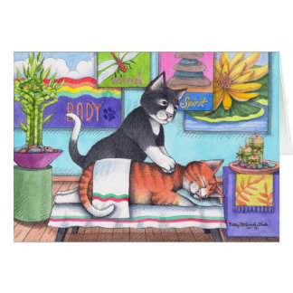 Massage Cats (Bud & Tony) Notecard Greeting Card