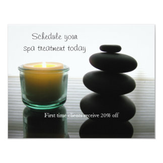 Massage stones and candle 11 cm x 14 cm invitation card