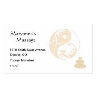 Massage Stones and Embellished Yin and Yang Double-Sided Standard Business Cards (Pack Of 100)