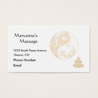 Massage Stones and Embellished Yin and Yang Business Card