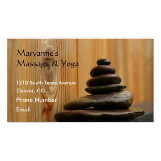 Massage Stones and Wood Business Card Template