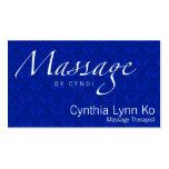 Massage Text on Blue Damask Business Card