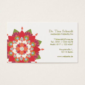 Massage Therapie Rot Lotos Terminkarte Business Card