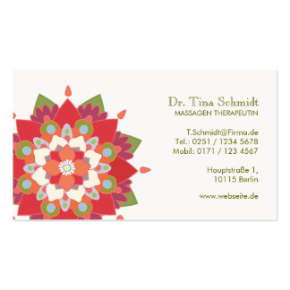 Massage Therapie Rot Lotos Terminkarte Pack Of Standard Business Cards
