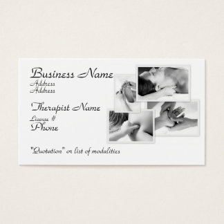 Massage Therapist, black & white on white Business Card