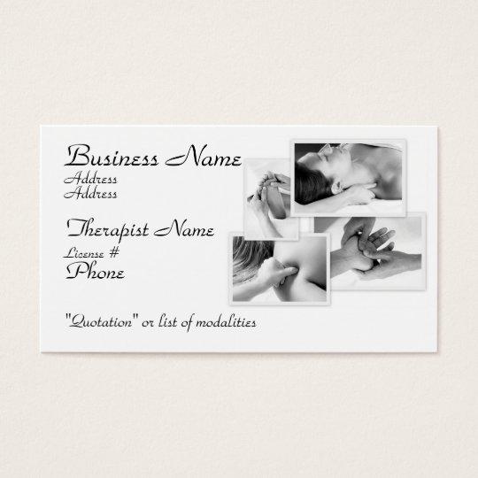 Massage Therapist, black & white on white Business