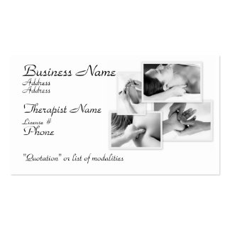 Massage Therapist, black & white on white Pack Of Standard Business Cards
